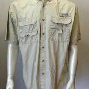 Bimini Bay Men's Beige Short Sleeve Button Down Ve